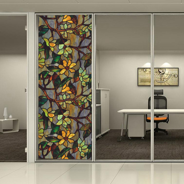 3d static cling frosted floral stained glass window door sticker film privacy window film reusable 36 2