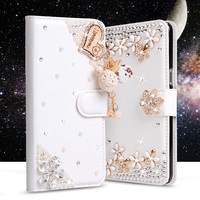5C Luxury Wallet Stand Flip PU Leather Elegance Bling Diamond Bowknot Case For Apple IPhone 5c