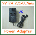 50pcs Tablet Battery Charger UK 9V 2A 2.5mm 2.5x0.7mm for Tablet Aoson M19 Chuwi V3 Pipo M2 M3 M8 M8 3G Power Adapter Supply
