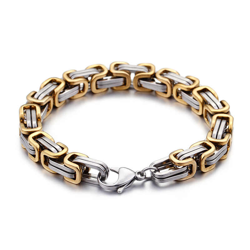 5mm/6mm/8mm Gold Silver Stainless Steel King Byzantine Chain Necklace Bracelet Fashion Handmade Jewelry 8-24''