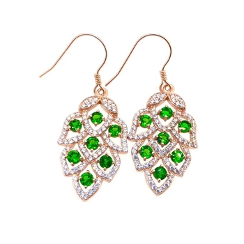 Fashion Leaf Grape S925 silver natural green diopside gem drop earrings natural gemstone earrings women party gift fine jewelry
