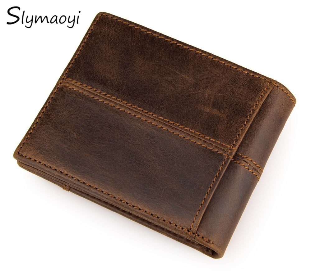Cow Genuine Leather Wallet Fashion Splice Men Wallets Luxury Dollar Price Vintage Male Purse Top Quality Carteira Masculina etya genuine cow leather men wallets