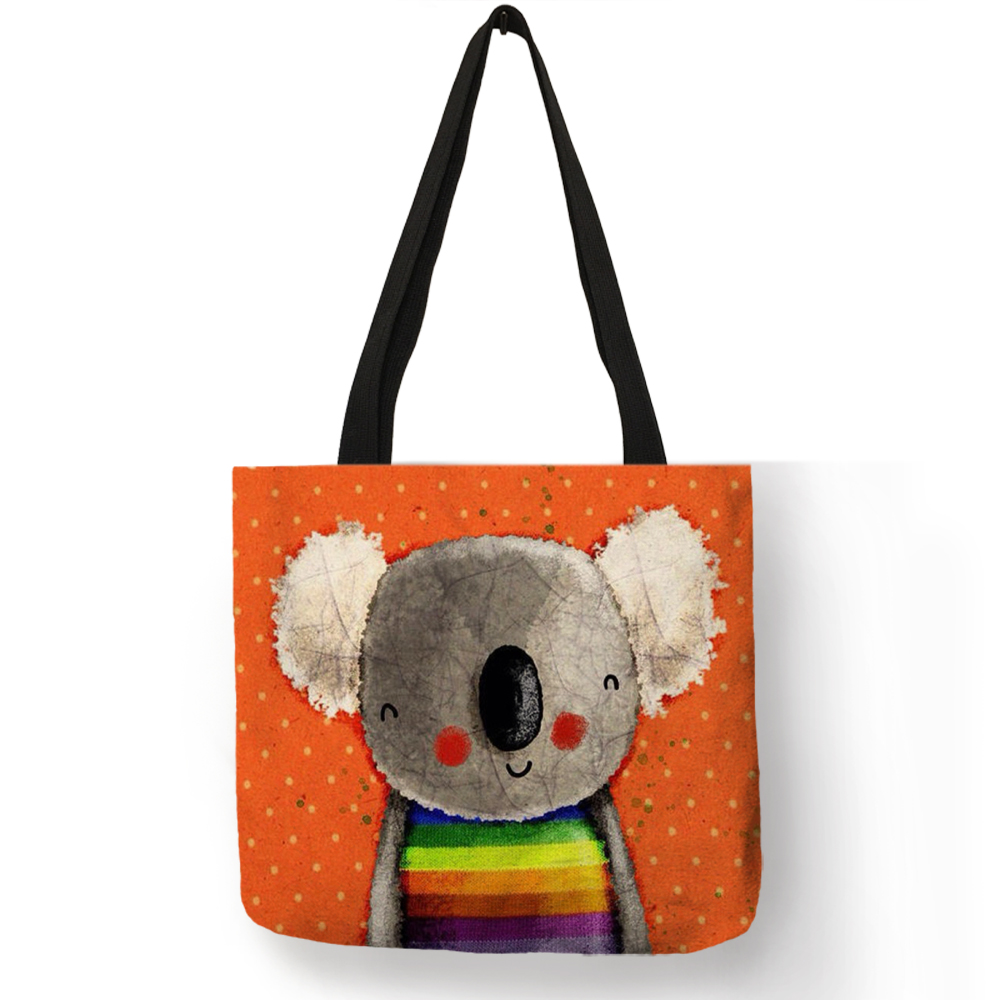 Cartoon Animal Pattern Reusable Shopping Bag Folding Koala Bear Print Tote Bag Women Fabric Handbags Traveling Bags Dropship