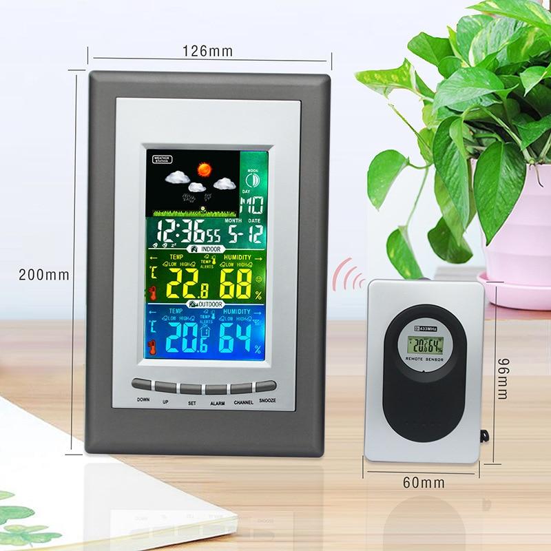 купить BOOLATEK Digital Wireless Colorful Weather Station Forecast Indoor Temperature Humidity Alarm Clock Barometer Thermomete онлайн