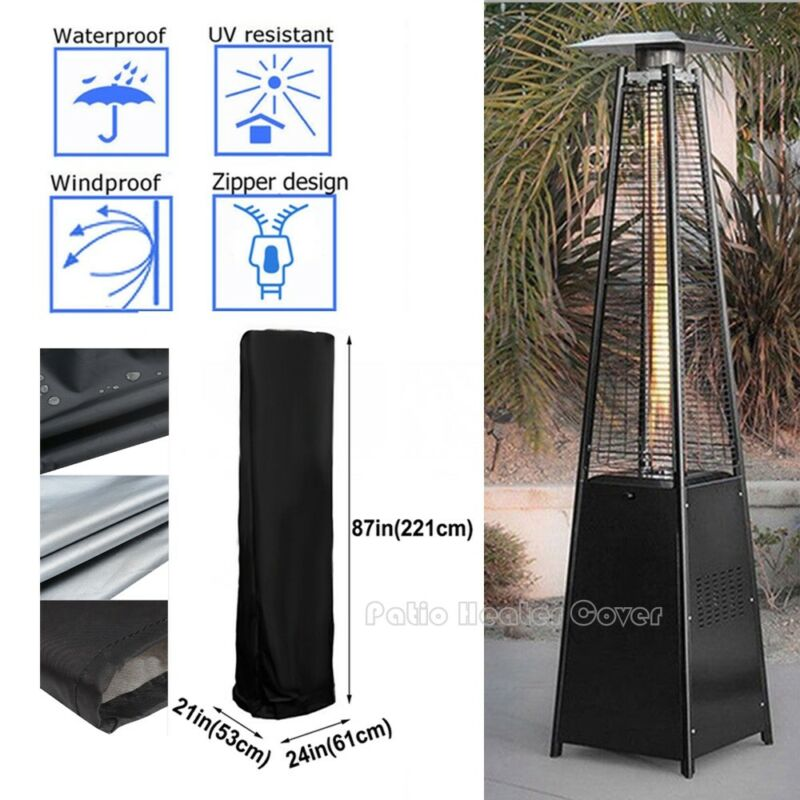 New 220CM Outdoor Black Pyramid Flame Patio Gas Dust proof Heater Cover Case Protector Bag Garden Polyester Oxford Waterproof
