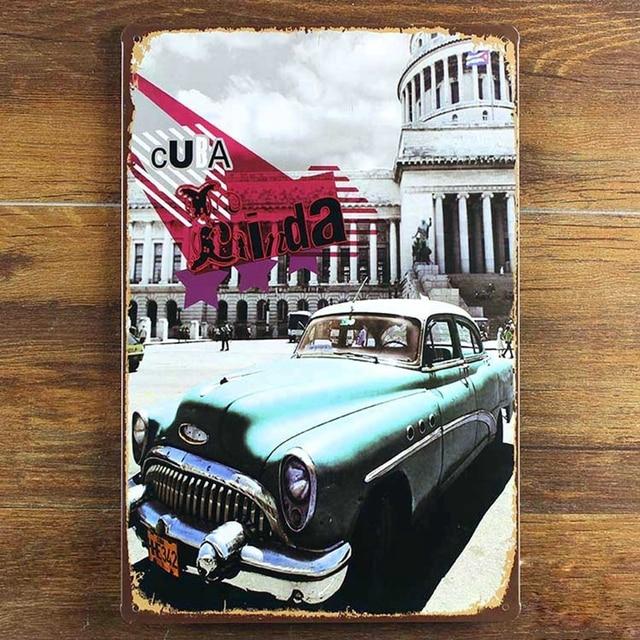 Cuba Street Metal Tin Car Signs Vintage Plate Painting Wall