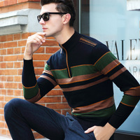 Autumn Winter Men's Brand Fashion Sweaters Warm 100% Wool Sweater Male Zipper Long sleeved Casual Pullover Sweater