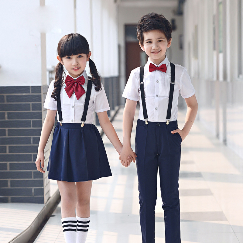 4pcs childrens clothes set for boys clothing summer sets shirt and navy pants student host piano chorus childrens day costume