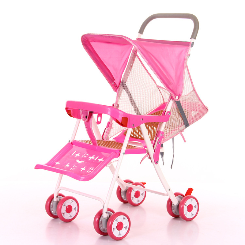 Portable Baby Trolley Four Wheels Stroller Lightweight Mesh Umbrella Car Summer Rattan Easy Folding Lie Flat Baby Pushchair Pram summer mosquito net travel folding portable four wheel cart carriage reversible car baby stroller lightweight pram pushchair