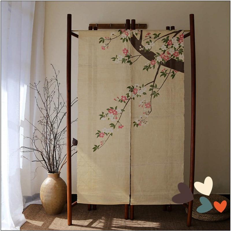 JUYANG Hand beige linen Sakura pattern curtains Japanese style door curtain Size 83 150 cm