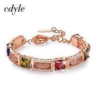 Cdyle Women Gold Bracelet Link Chain Bracelet Zirconia Jewelry Bracelet Bangle for women Romantic Birthday Gifts Armband Damen