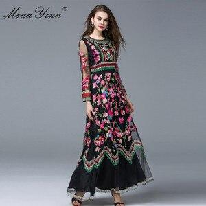 Image 4 - MoaaYina Fashion designerska sukienka wiosna kobiety z długim rękawem haft sztuczne kwiaty Casual Retro elegancka sukienka wysokiej jakości