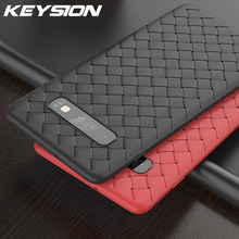KEYSION Super Soft Phone Case For Samsung Galaxy S10+ Plus S10e Luxury Grid Weaving Case For S9+ Note 9 Radiating Cover Silicone(China)