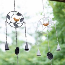 European wrought iron wind chime pendant  style Metal Wind Chime with Birds Garden Outdoor Decor Bell