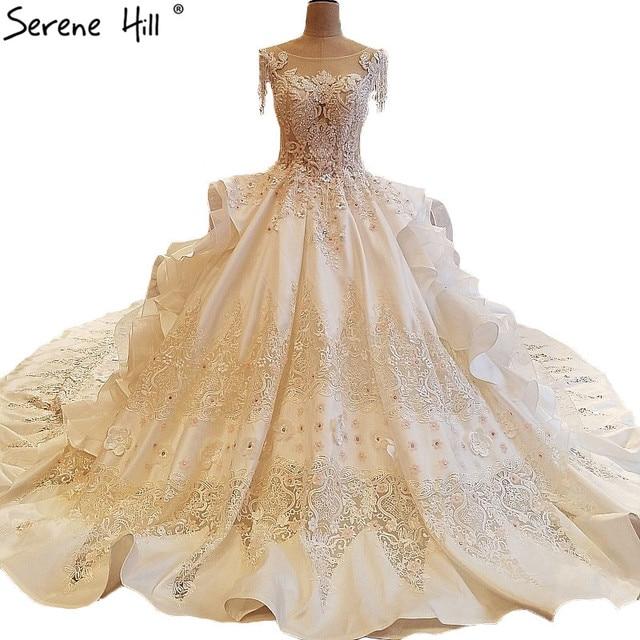 Luxury Diamond Pearls Lace Train Wedding Dresses High end Sleeveless ...