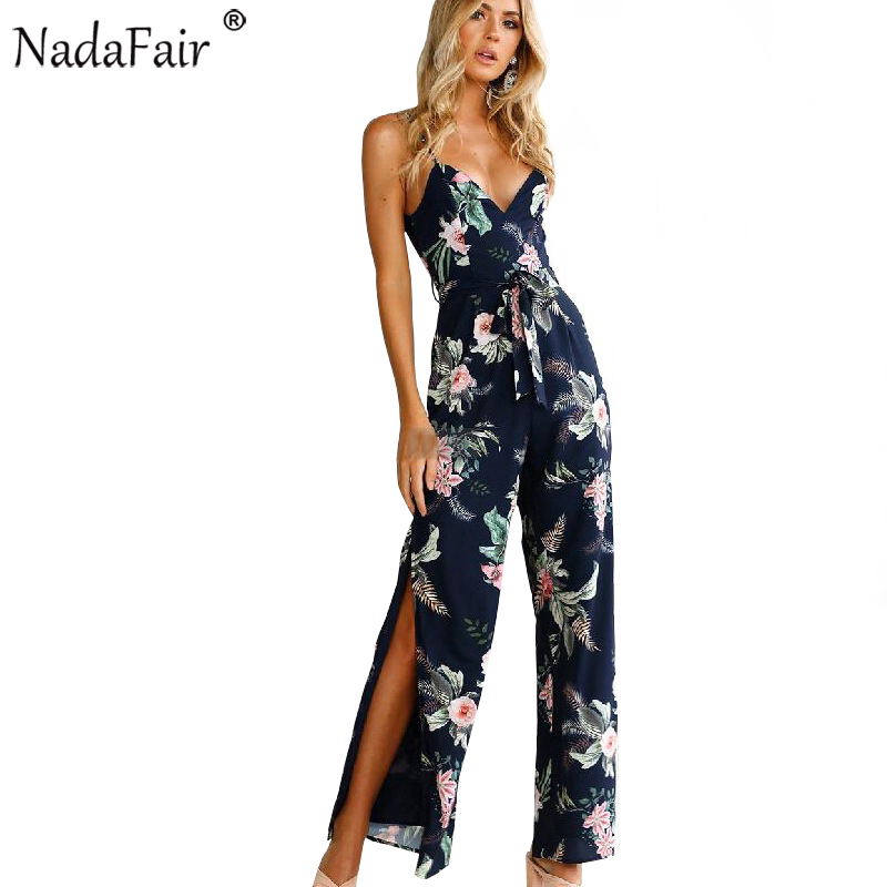 Nadafair High Split Floral Print   Jumpsuit   Women 2019 Spaghetti Strap V Neck Backless Long Pants Women Summer   Jumpsuits