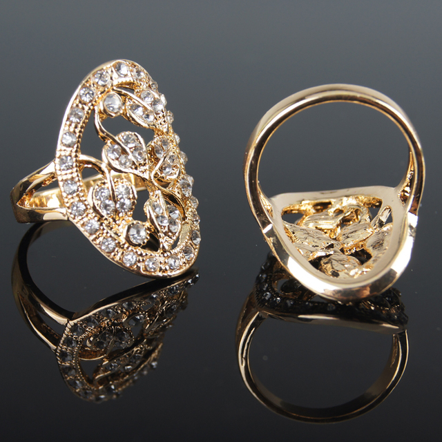 2015 New Sale Real Italina Rings For Women Genuine Austria Crystal Rose Gold Color Vintage Wedding Rings