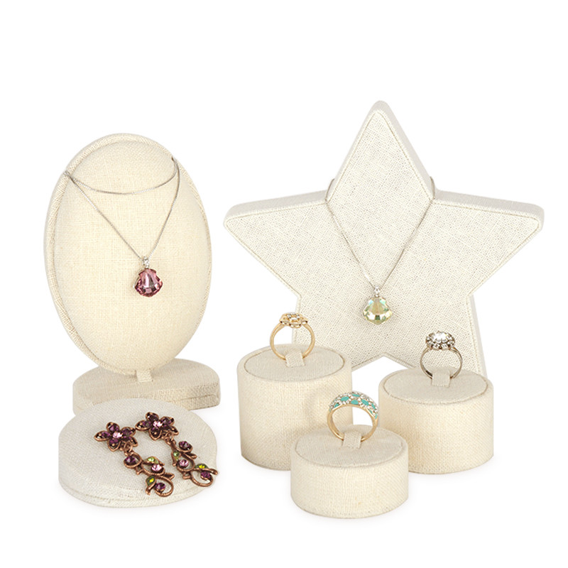 Linen Jewelry Display Holder Necklace Display Holder Ring Earrings Pendant Display Stand Linen Jewelry Disk