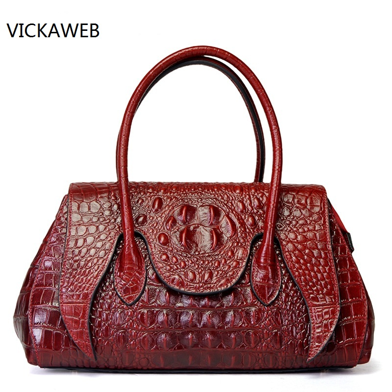 brand genuine leather women shoulder bag female crocodile pattern hobos bag large