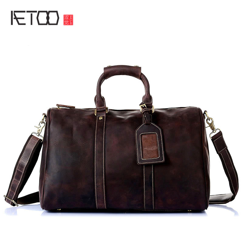 AETOO Europe and the United States selling mad horse leather men's hand bag head layer of leather shoulder diagonal package full europe and the united states simple geometric pattern hand bag head layer of leather in the long wallet multi card large capacit
