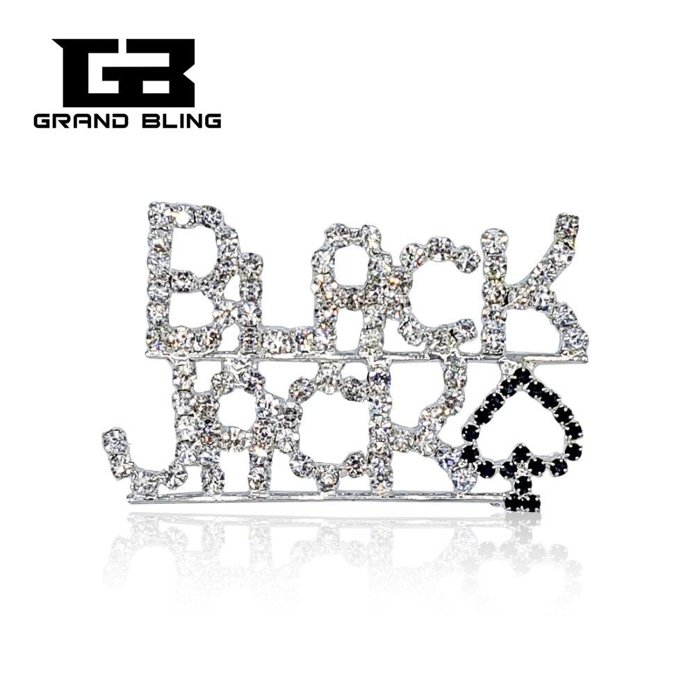 Casino Theme Brooch Pin BLACK JACKRhinestone Jewelry
