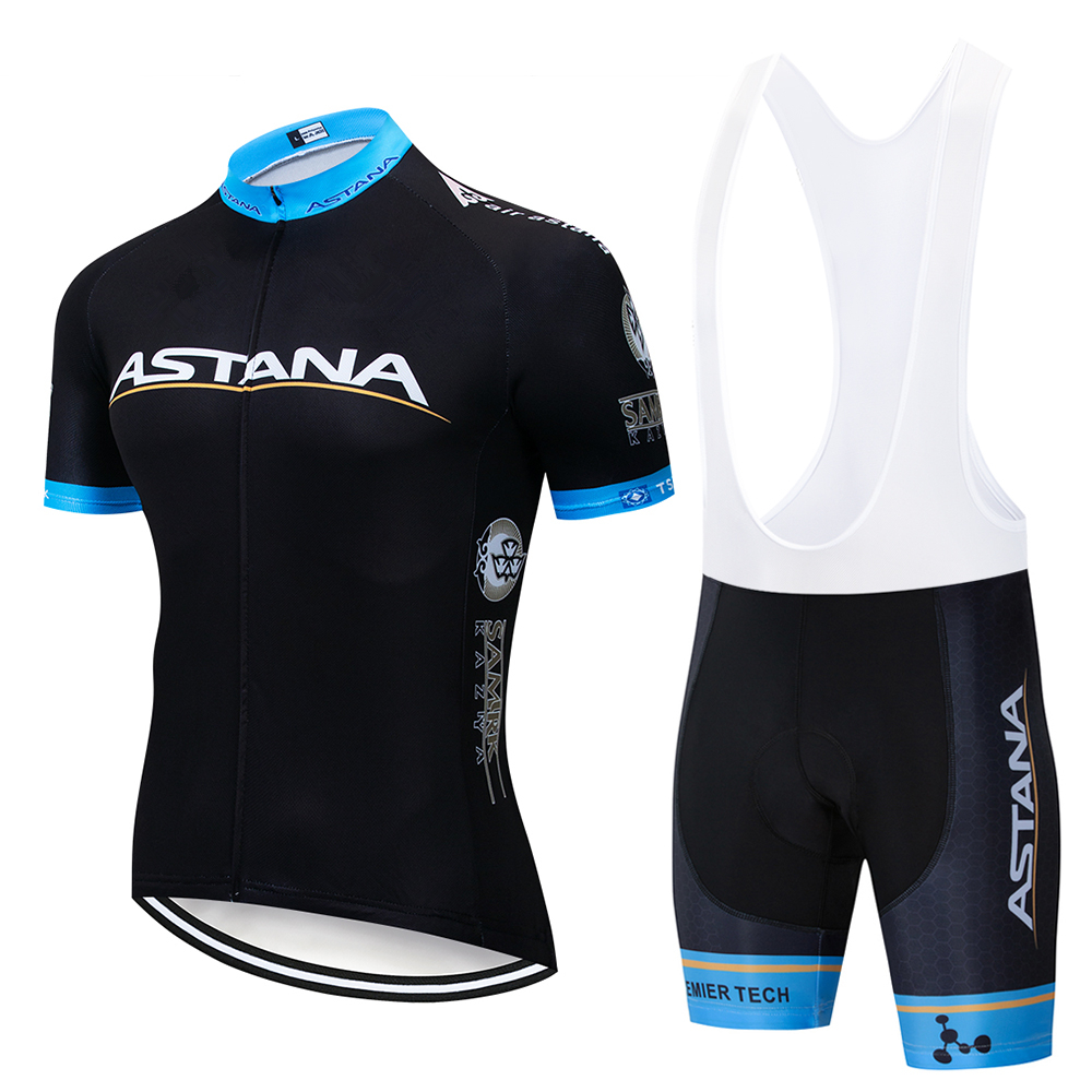 New 2019 Black Team ASTANA Pro Cycling Jersey 9D Gel Pad Bicycle Shorts Men's Clothing Cycling Maillot Culotte Clothes