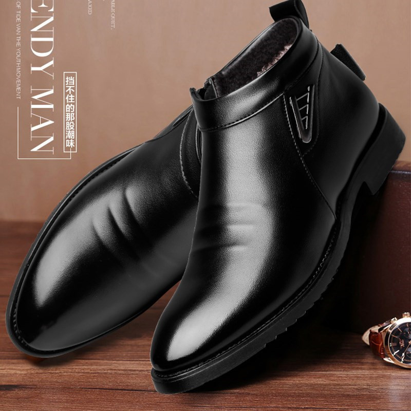 Business Chelsea Boots Mens Winter Ankle Boots Men Leather Zipper Side Thick Artificial Fur Snow Boots Men Winter Dress Shoes