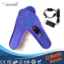 Carica USB Riscaldata solette Inverno di spessore soletta di pelliccia Caldo con pelliccia inserto accessori scarpe tenere in caldo blu EUR formato 35  46 #1800MAH