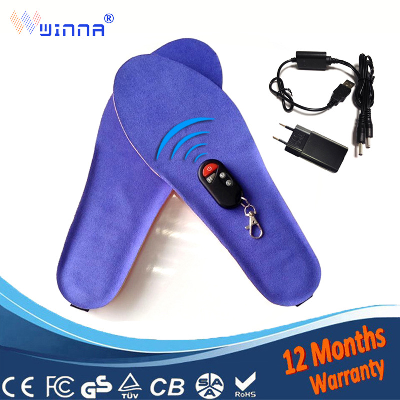 USB Charge Heated insoles Winter thick insole fur Warm with fur insert shoes accessories keep warm blue EUR size 35 46#1800MAH