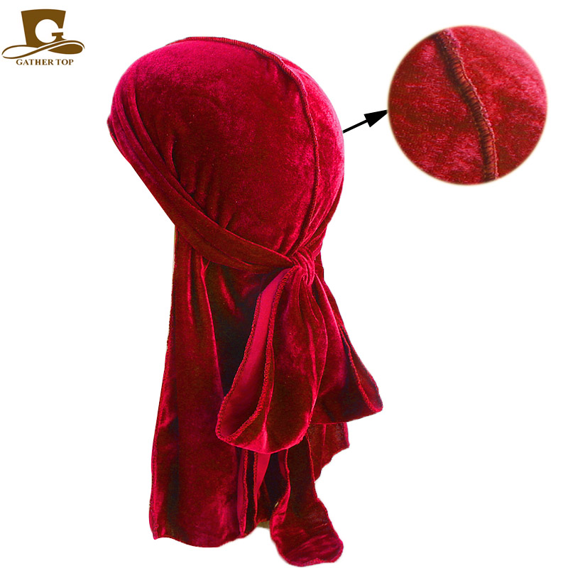 New fashion Men's Velvet Durags Bandana Turban Hat Wigs Doo Men Durag Biker   Headwear   Headband Pirate Hat Du-RAG Hair Accessories