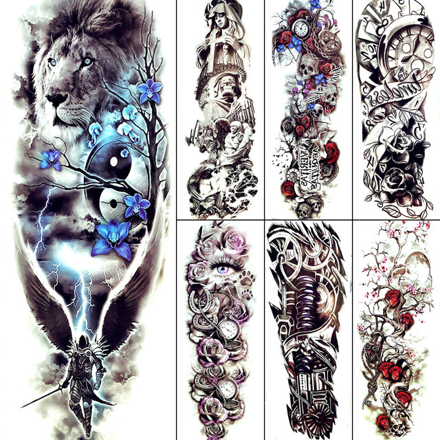 Black And White Large Lion Men Temporary Tattoo Legs Cool Rider Wing