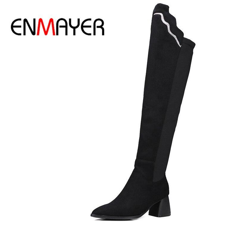 ENMAYER 2 цвета теплый указал носок высокие квадратных каблуках колено высокие скольжения на сапоги для женщин зимние ботинки свободного покроя сапоги обувь Size34-43