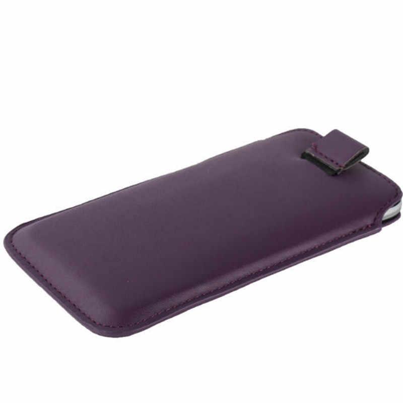 Nuovo Cuoio DELL'UNITÀ di elaborazione Pull Tab Del Manicotto Del Sacchetto Per Just5 Libertà M303 C105 C100 X1 Casse Del Telefono Mobile del Sacchetto Universale Completo custodia protettiva