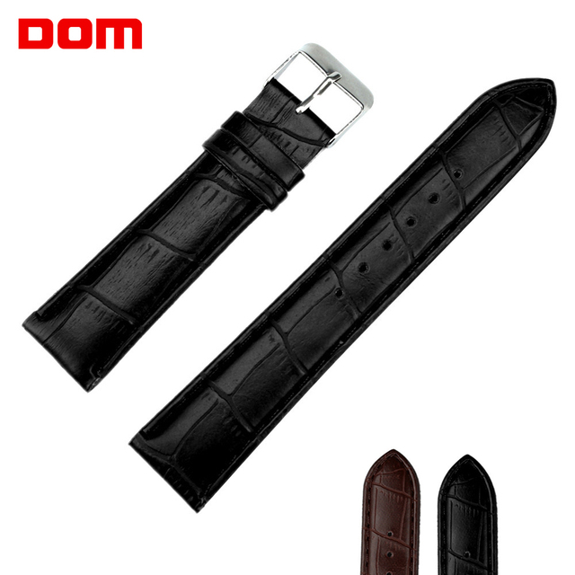 DOM 18mm 20mm 22mm Watch Accessories Women's Men's Unisex Leather Watch Strap Bl