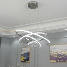 Современный светодиодный подвесной светильник, креативный гостиничный бар, простое кольцо, круговое декоративное затемнение, пульт дистанционного управления, Современная Подвесная лампа