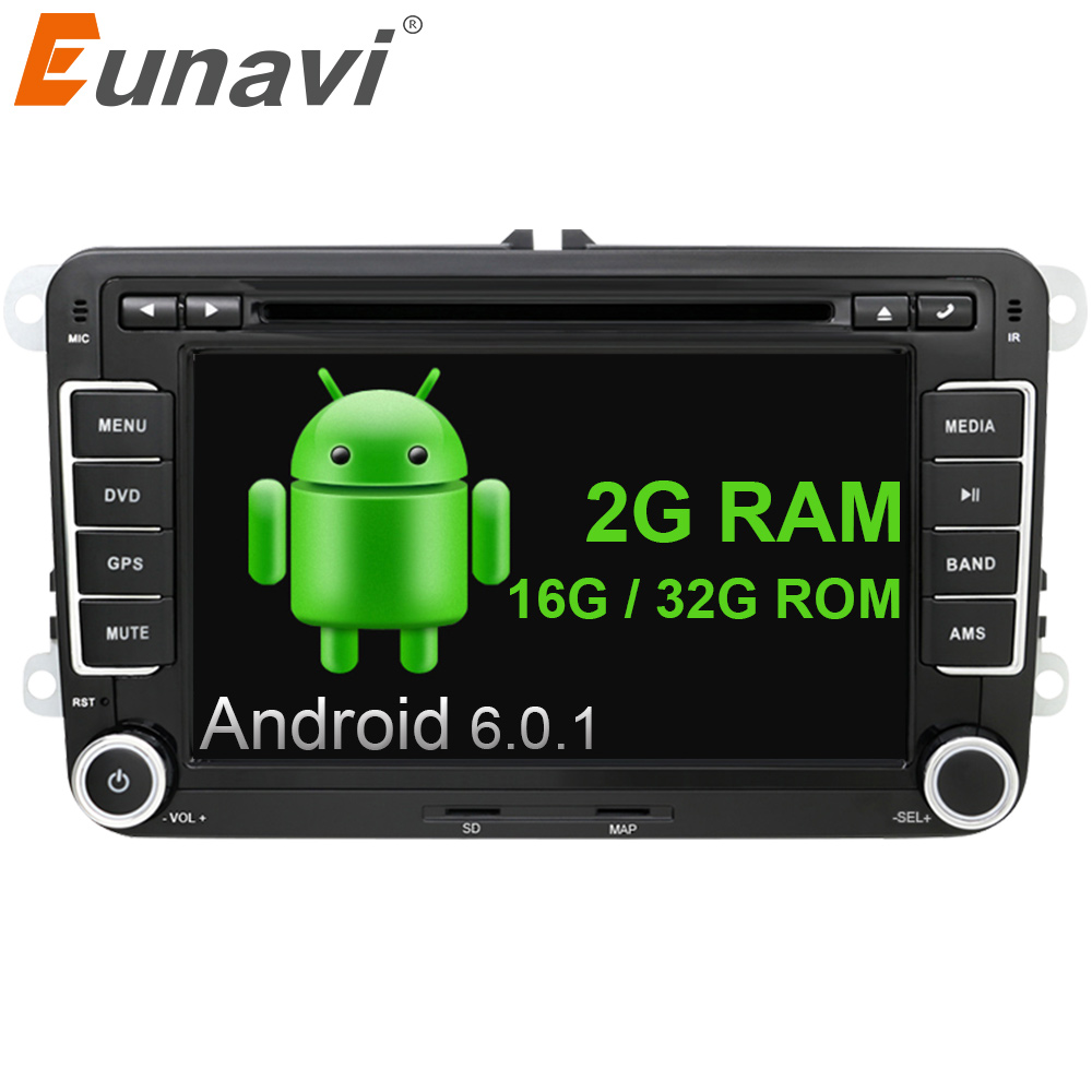 цена на Eunavi 7 inch 2 Din Android 6.0 car gps radio stereo car dvd player for VW GOLF 6 Polo Bora JETTA B6 PASSAT Tiguan SKODA OCTAVIA