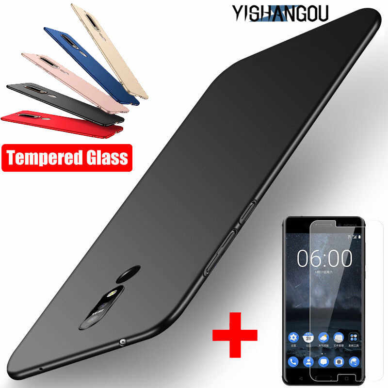 Ultra Slim Hard PC Matte Phone Case For Nokia 5.1 6.1 7.1 2018 7 Plus 6 2018 8 2017 With Glass Film Screen Protector Cover Funda