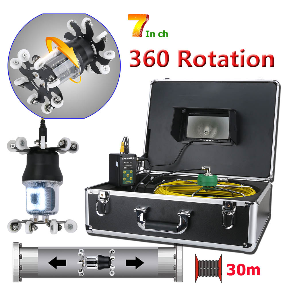 7 inch Pipe Inspection Video Camera Drain Sewer Pipeline Industrial Endoscope IP68 38 LEDs 360 Degree Rotating Camera