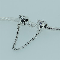 FANDOLA Beads Silver 925 Jewelry Heart of Mickey Safety Chain Beads for Jewelry Making for Women DIY Fits Original Bracelets