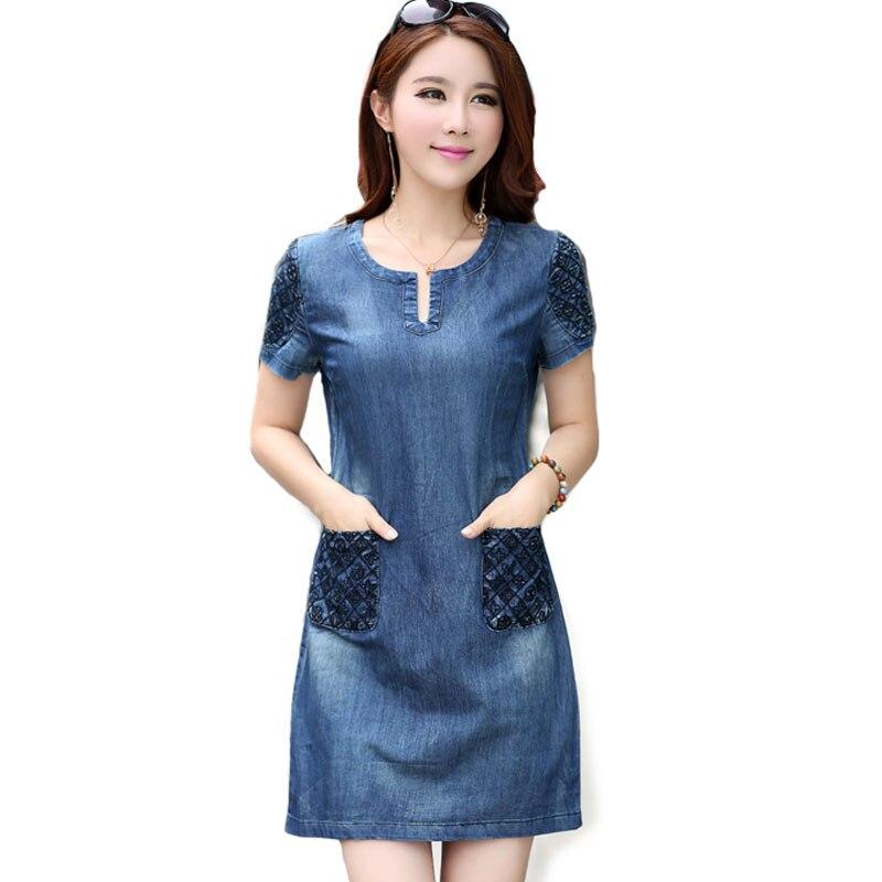 2016 New Summer Denim Dress High Quality Women V Neck ...