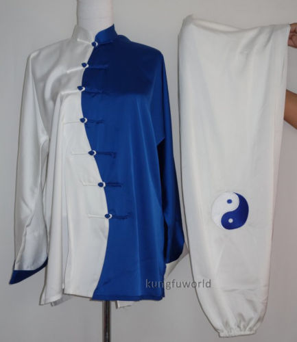 Tai chi Uniform White/Blue Satin fabric Embroidery Unisex Wushu Clothing Kung fu Outfit Martial arts Wing Chun Suit