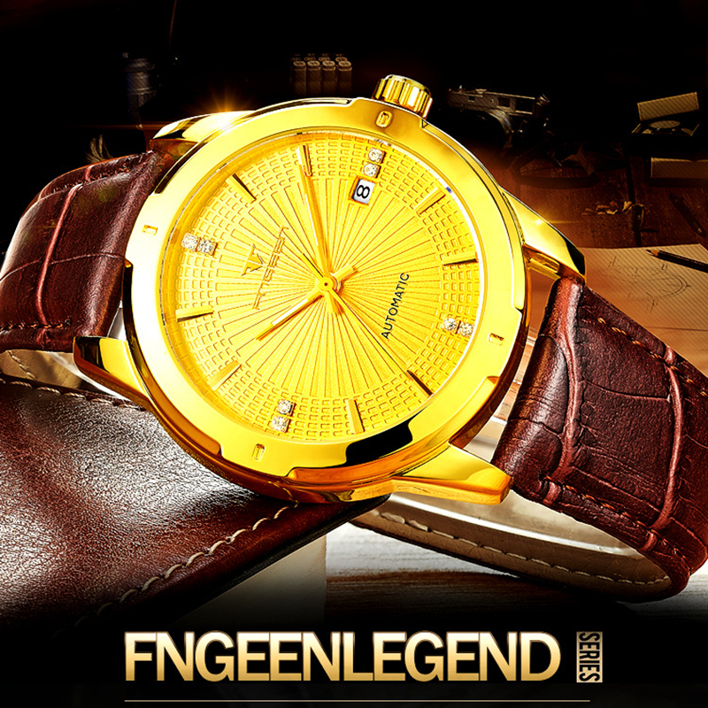 compare prices on accurate watches online shopping buy low price fngeen men mechanical watches top luxury qutomatic movement classic design leather gold dial gear fashion wrist