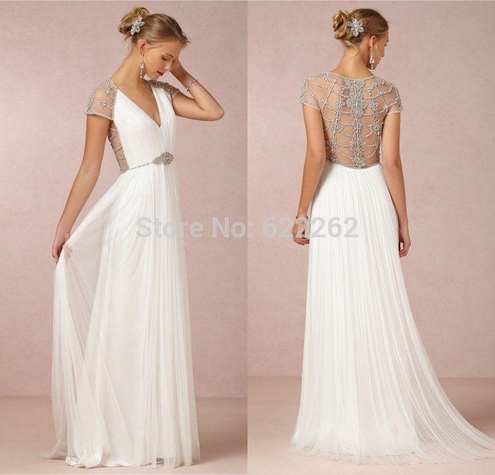 Most sexy a line v neck short sleeve beach wedding dress for Most sexy wedding dresses