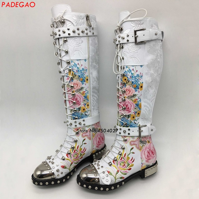 color Blanco Largas Rosa Remache Punta Color Alta Martin Up Redonda 1 color 3 2 Botas Rodilla Metal Lace Negro Flor Mujer 66nqwzrTd