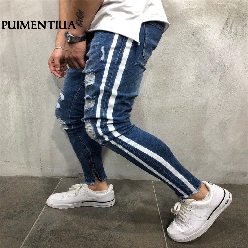 Puimentiua 2019 Summer Men's Skinny   Jeans   Male Striped Hole Worn Ripped Pants   Jeans   Side Tarja Pencils Streetwear Homme Trousers