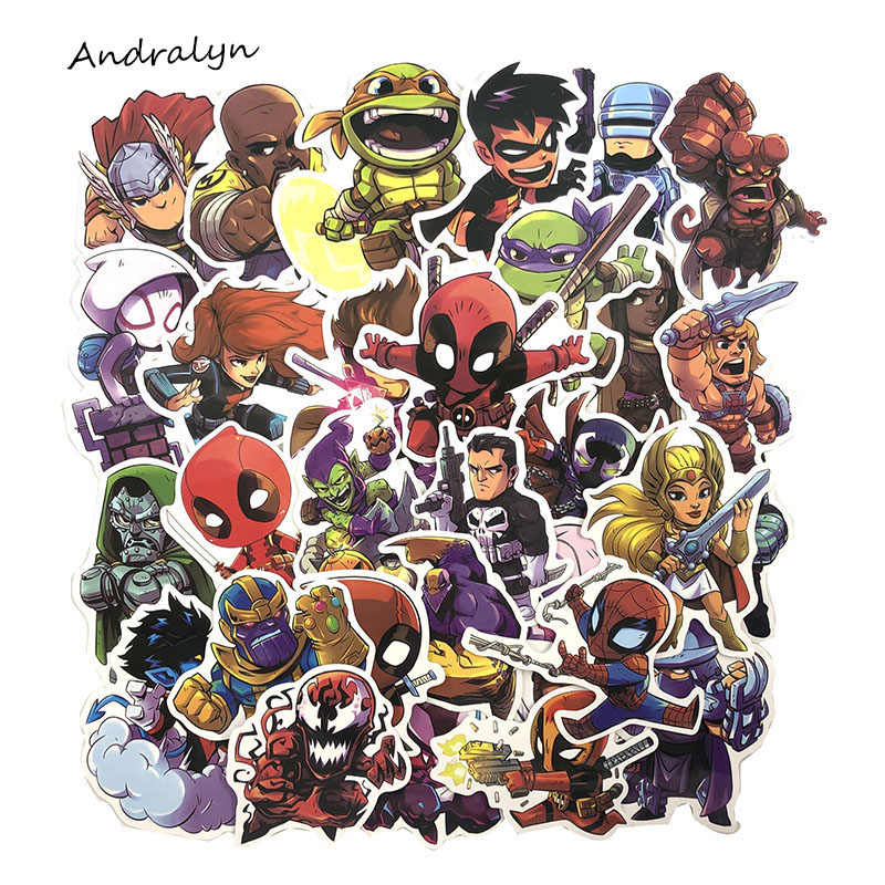 50 Pcs/Set Marvel Super Hero Stickers for Luggage Laptop Skateboard Motorcycle Car Styling Decals PVC Waterproof Sticker
