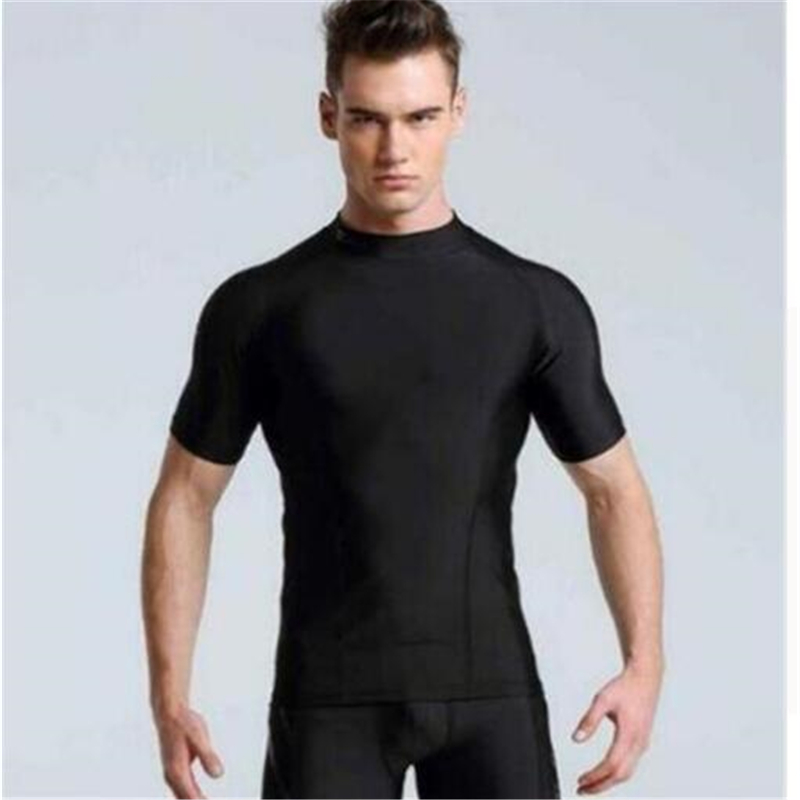 New short sleeves   T     Shirts   Brand male Compression tights Sets High Elastic Fitness   T  -  shirt   mens tshirt Tops Quick-Drying