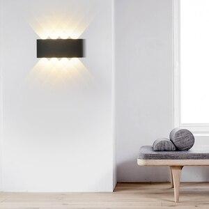 Image 4 - Белые Черные настенные лампы, алюминиевый абажур, прикроватный светильник для гостиной, освещение AC85 260V, теплое или холодное освещение