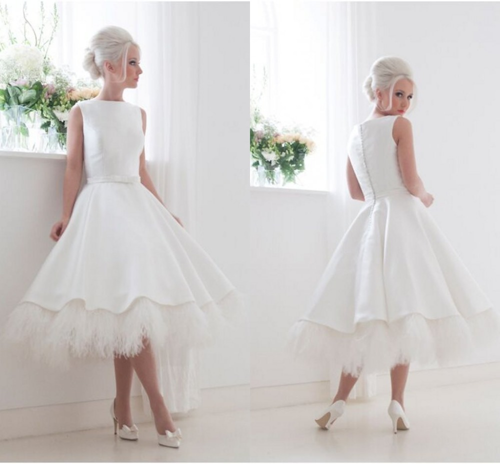 Vintage Short Reception Wedding gown with Pocket High Neck Feather Mid-Calf Little 2018 Vestido de Novia   Bridesmaid     Dresses