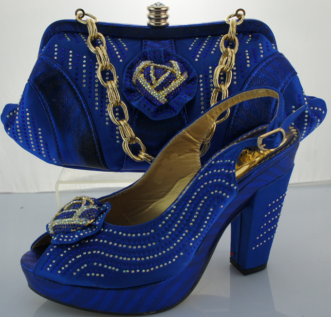 ФОТО New Wedding Shoes And Bag High Heels Blue Color African Style Shoes And Bag Set Italy Shoe And Bag Set To Match ME3301